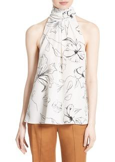 Diane von Furstenberg Print Silk High Neck Blouse