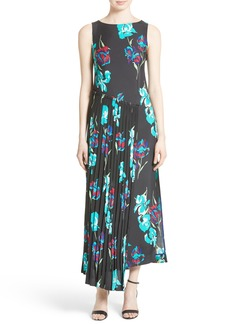 Diane von Furstenberg Print Silk Pleated Overlay Dress