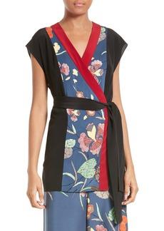 Diane von Furstenberg Print Stretch Silk Wrap Kimono Top