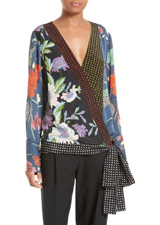 Diane von Furstenberg Print Tie Waist Crossover Blouse