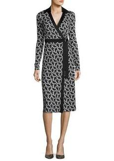 Diane von Furstenberg Printed D-Ring Belted Silk Wrap Dress