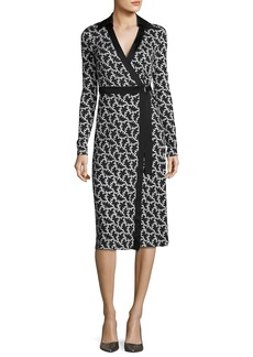 Diane von Furstenberg Printed D-Ring Belted Silk Wrap Dress