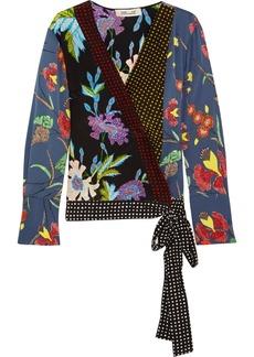 Diane von Furstenberg Printed silk-blend wrap top