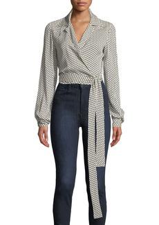 Diane von Furstenberg Printed Silk Long-Sleeve Wrap Blouse