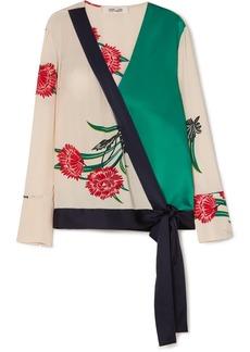 Diane Von Furstenberg Printed silk-satin wrap blouse