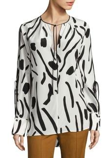 Diane von Furstenberg Printed Tie-Sleeve Silk Blouse