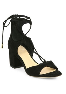 Diane von Furstenberg Priore Lace-Up Suede Block Heel Sandals