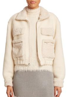 Diane von Furstenberg Rabbit Fur-Trim Bomber Jacket