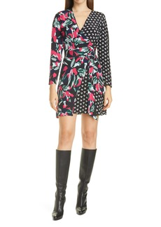 Diane von Furstenberg Raven Silk Long Sleeve Wrap Dress