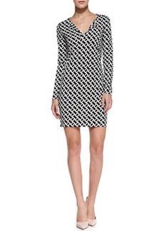 Diane von Furstenberg Reina Long-Sleeve Chain-Link-Print Dress