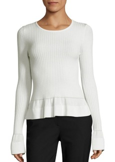 Diane von Furstenberg Rib-Knit Peplum Top
