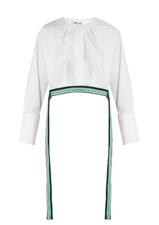 Diane Von Furstenberg Ribbon-trimmed cropped cotton blouse