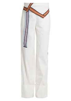 Diane Von Furstenberg Ribbon-trimmed wide-leg linen-blend trousers