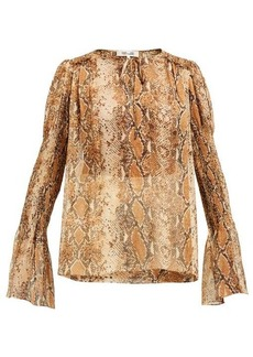 Diane Von Furstenberg Rohini python-print silk blouse