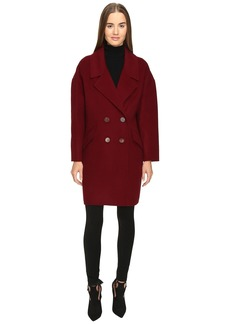 Diane Von Furstenberg Roma Solid Double Face Wool Boyfriend Coat