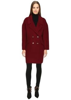 Diane Von Furstenberg Roma Solid Double Face Wool Boyfriend Coat