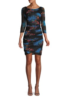 Diane von Furstenberg Ruched Floral-Print 3/4-Sleeve Short Dress