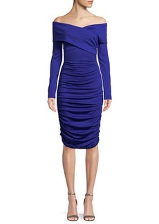 Diane von Furstenberg Ruched Off-Shoulder Long-Sleeve Dress