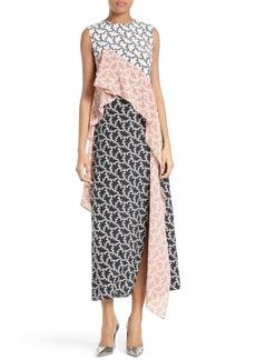 Diane von Furstenberg Ruffled Front Silk Midi Dress