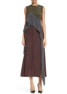 Diane von Furstenberg Ruffled Front Silk Midi Dress