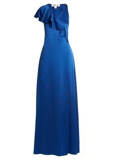 Diane Von Furstenberg Ruffled satin wrap gown