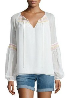 Diane von Furstenberg Sammy Embroidered Long-Sleeve Silk Top