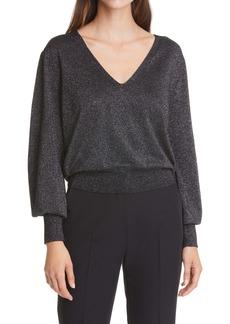 Diane von Furstenberg Sapphira Metallic Blouson Sleeve Merino Wool Blend Sweater