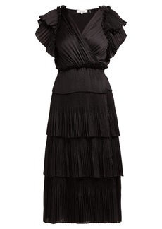 Diane Von Furstenberg Sasha pleated tiered wrap midi dress