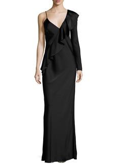 Diane von Furstenberg Satin Asymmetric Ruffle Gown