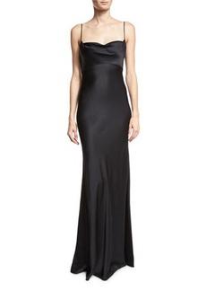 Diane von Furstenberg Satin Cowl-Neck Sleeveless Gown