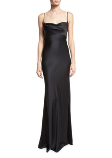 Diane von Furstenberg Satin Cowl-Neck Sleeveless Gown