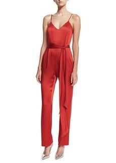 Diane von Furstenberg Satin Sleeveless Pleat-Front Belted Jumpsuit
