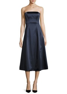 Diane von Furstenberg Satin Strapless A-Line Midi Gown