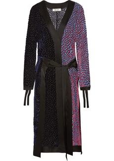 Diane Von Furstenberg Satin-trimmed Flocked Chiffon Midi Dress