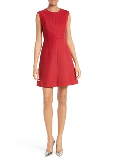Diane von Furstenberg Satin Yoke Fit & Flare Dress
