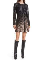 Diane Von Furstenberg Savanna Ombré Sequin Long Sleeve Dress