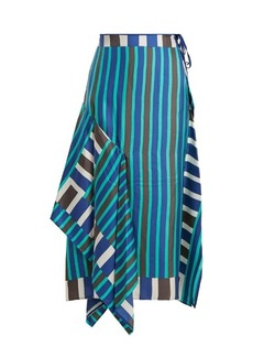 Diane Von Furstenberg Saxon striped asymmetric silk skirt