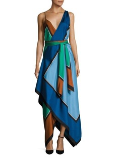 Diane von Furstenberg Scarf Hem Tiered Silk Midi Dress
