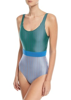 Diane Von Furstenberg Scoop-Neck Belted Striped Classic One-Piece Swimsuit