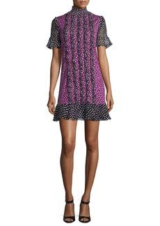 Diane von Furstenberg Sebina Printed Knit Dress w/Chiffon Ruffles