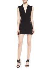 Diane von Furstenberg Seduction Mesh-Side Collared Short Jumpsuit
