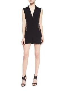 Diane von Furstenberg Seduction Mesh-Side Collared Short Jumpsuit