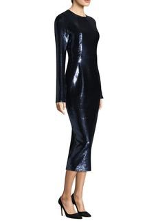 Diane Von Furstenberg Sequin Midi Long-Sleeve Sheath Dress