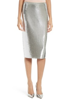 Diane von Furstenberg Sequin Midi Pencil Skirt