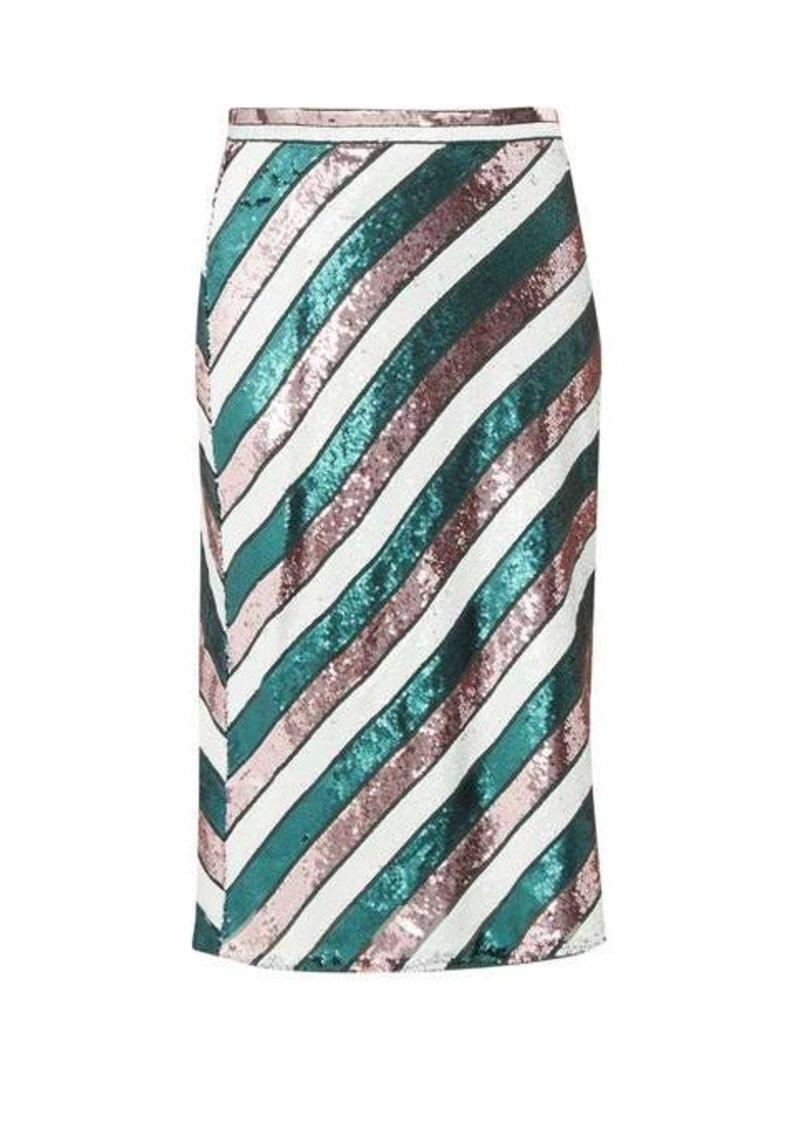 Diane Von Furstenberg Sequin-striped bias-cut skirt