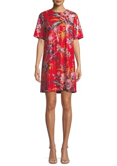 Diane Von Furstenberg Sequined Floral-Print Short-Sleeve Shift Dress