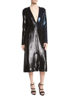 Diane von Furstenberg Sequined Long-Sleeve V-Neck Midi Dress