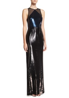 Sequined Panel High-Neck Sleeveless Gown