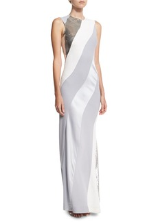 Diane von Furstenberg Sequined-Stripe Sleeveless Bias Gown