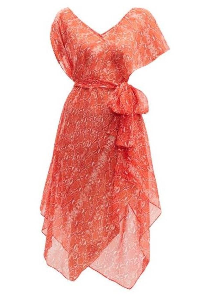 Diane Von Furstenberg Serena python-print silk wrap dress